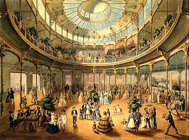 Interior of the German Winter Garden at 45 Bowery, 1865.