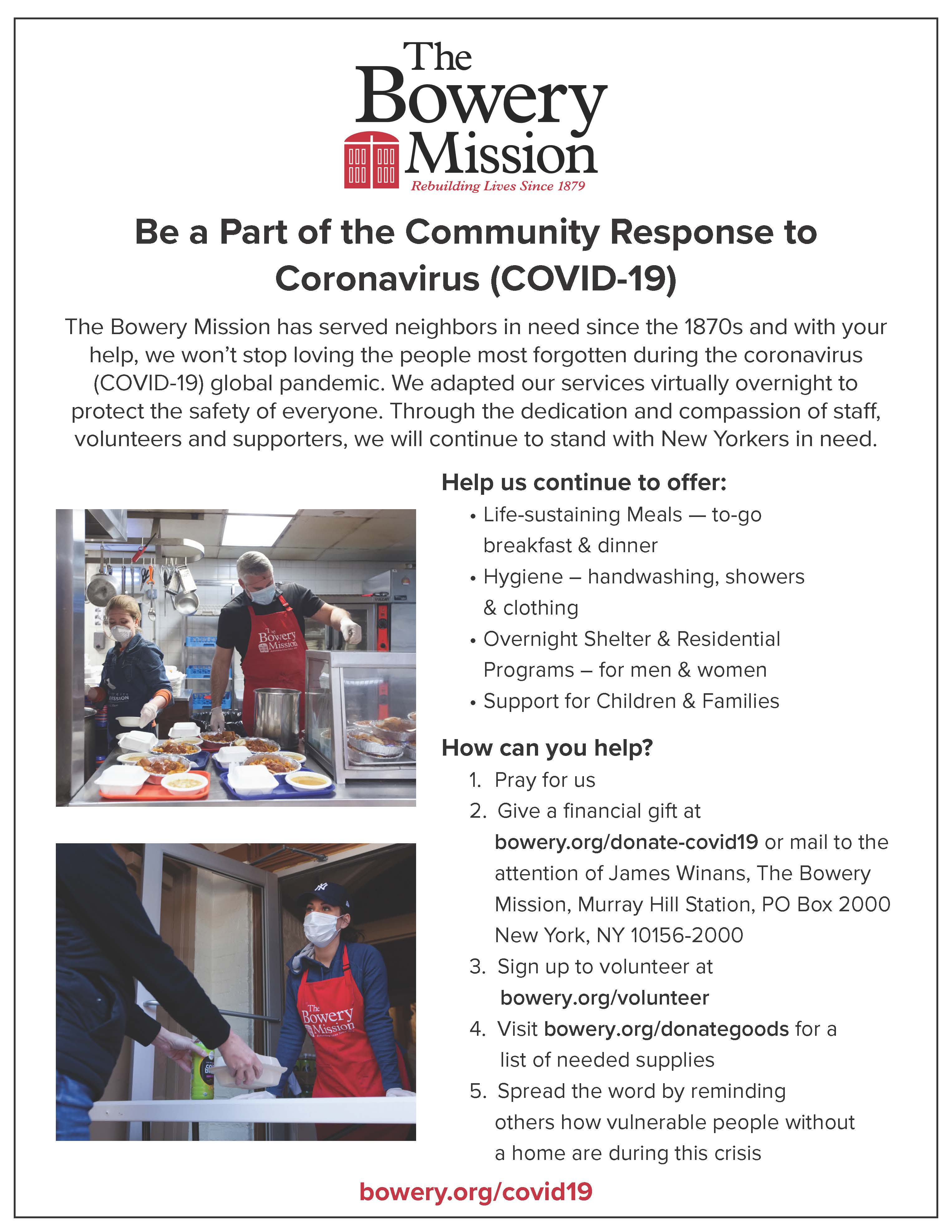 Bowery Mission: Be part of the community Response to Coranavirus (COVID-19).