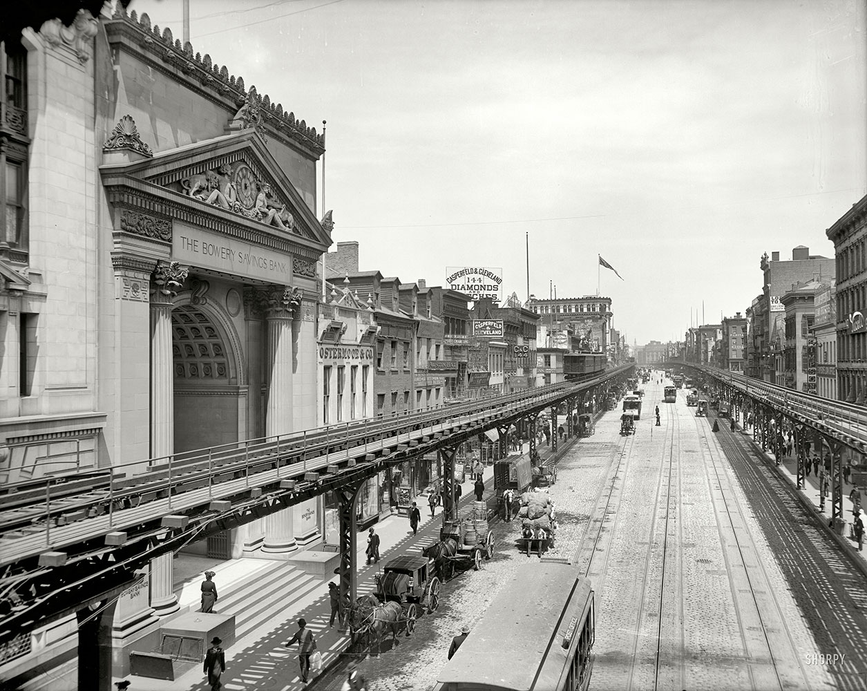 View of the bank on the Bowery in 1905