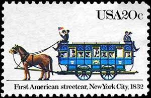 Postage Stamp celebrating Americas First Street Car, 1832