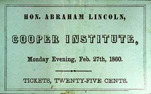 Ticket to Lincoln's Cooper Union Speech