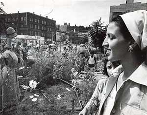 Liz Christy In Garden 1970s