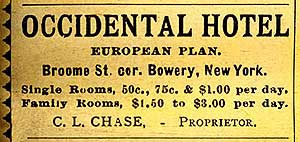 Occidental Hotel Ad