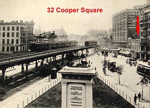 Cooper Square, looking south from Cooper Union, circa 1900